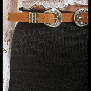 Double buckle Western boho waist belt tan